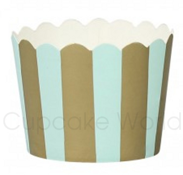 ROBERT GORDON PREMIUM MINT GOLD STRIPES PAPER BAKING CUPS 25PCS